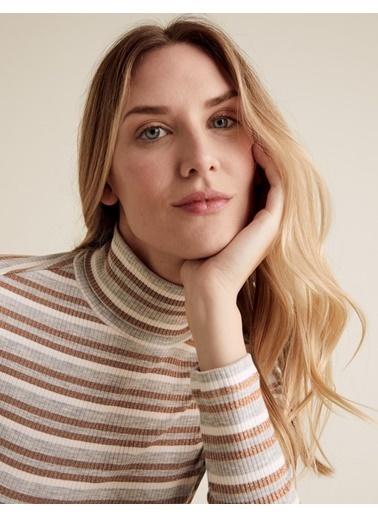 Marks & Spencer Çizgili Balıkçı Yaka Bluz Gri